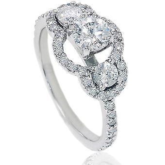 1 1/4 Ct Three Stone Diamond Engagement Ring 14K White Gold