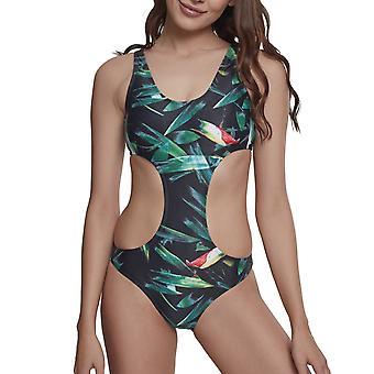 Urban Classics Ladies - Tropical Monokini Bikini leaf