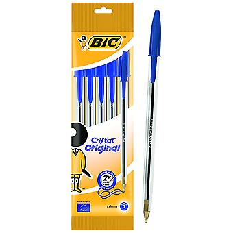 Bic Bag 5 Pens Crystal Blue (Babies and Children , Toys , School Zone)