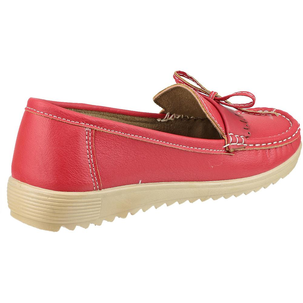 On Lace Slip Loafer Stylish Red Summer Ladies Elba Amblers CwtZxBOqC