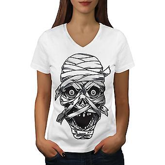 Erschrecken Mumie Augen Frauen WhiteV-Neck T-shirt   Wellcoda