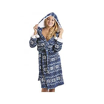 Camille Blue Luxury Supersoft Velour Aztec Bathrobe