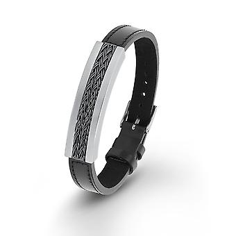 s.Oliver jewel mens bracelet stainless steel leather 2012476