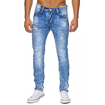 Slim stonewashed ripped straight denim men's Jeans destroyed newly ragged pants