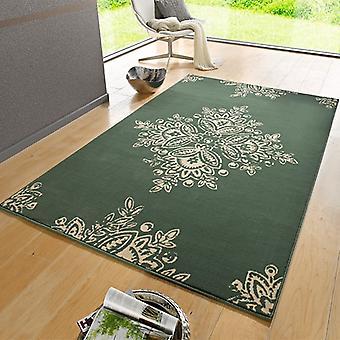 Crème de fleur vert tapis velours Design | 102427