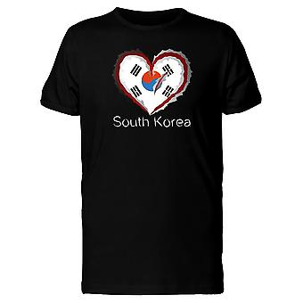 South Korea Scratched Flag Heart Tee Men's -Image by Shutterstock