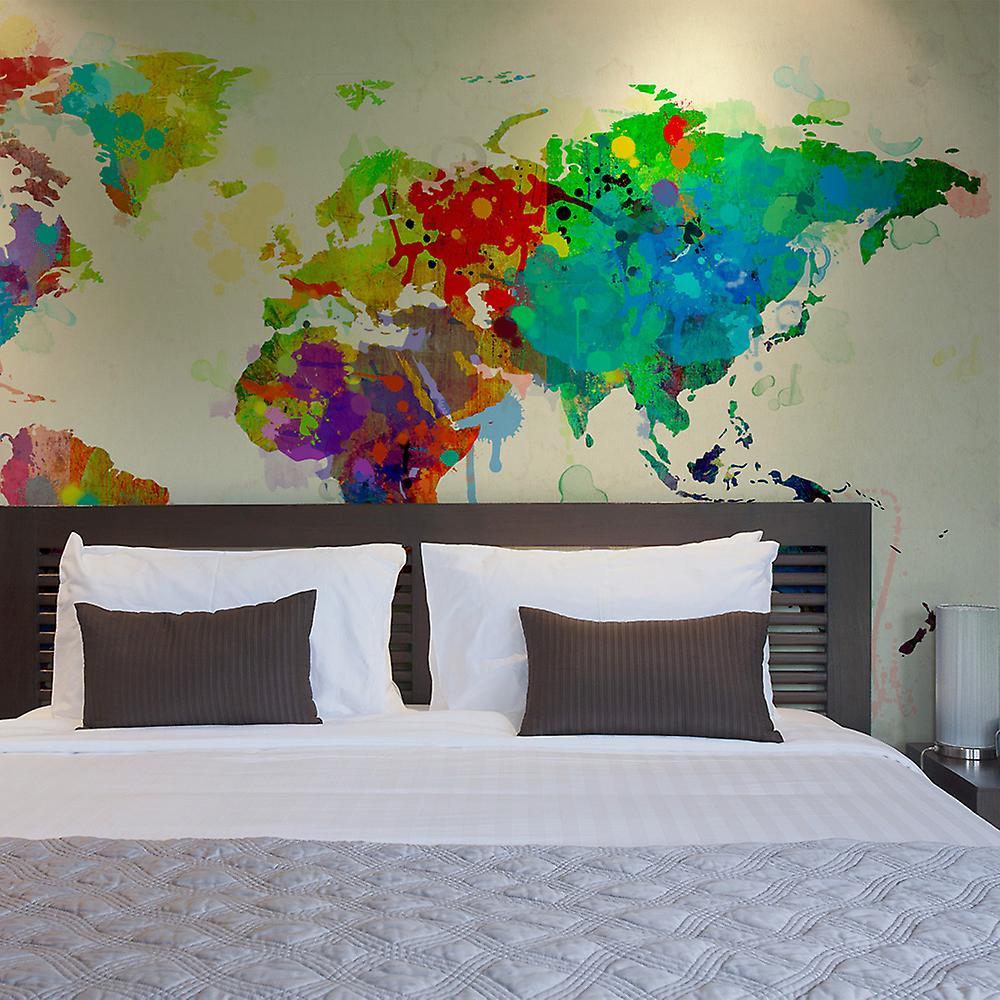 Papier peint - Paint splashes map of the World