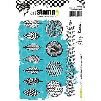 Carabelle Studio Cling Stamp A6 By Birgit Koopsen-Scribbled Leaves & Textured Circles