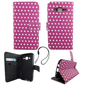 Mobile phone case pouch for mobile Samsung Galaxy J5 2015 polka dot purple white