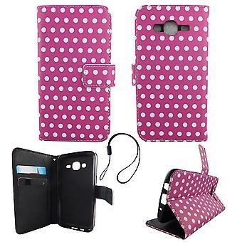 Handyhülle Tasche für Handy Samsung Galaxy J5 2015 Polka Dot Lila Weiss
