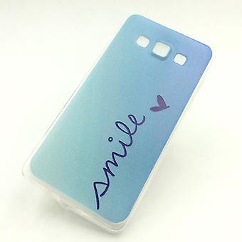 Handy Hülle für Samsung Galaxy A5 Smile Blau Tasche Case Cover + 1x Panzer Schutz Glas