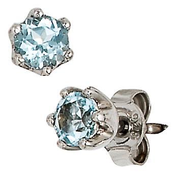 Oorbellen 925 sterling zilver rhodium plated 2 Blue Topaz oorbellen zilver blauw