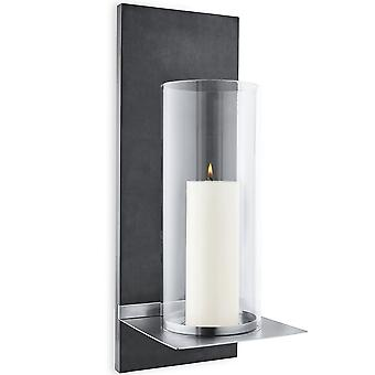 Wall chandelier with candle, polystone with stainless steel matte and clear glass