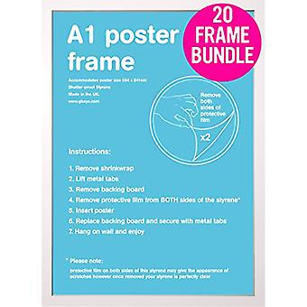 GB Posters 20 White A1 MDF Poster Frames 59.4 x 84.1cm Bundle