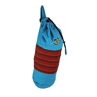 Blue and Red Stripe OM Symbol Cotton Canvas Yoga Mat Bag