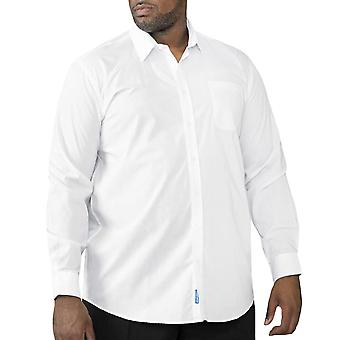 D555 Mens Aiden Easy Iron Smart Casual Long Sleeve Button Up Shirt - White