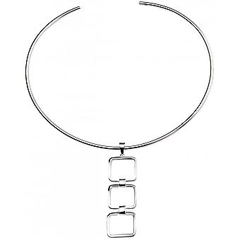 Beginnings Triple Cut Out Square lien pendentif - Silver