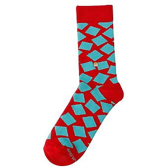 The Moja Club Squared Midcalf Socks - Red/Green