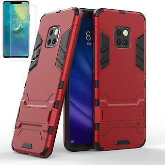 Für Huawei Mate 20 Pro Metal Style Hybrid Case TPU Silikon Rot + 0,3 mm 4D H9 Curved Hartglas Tasche Hülle Cover Hülle