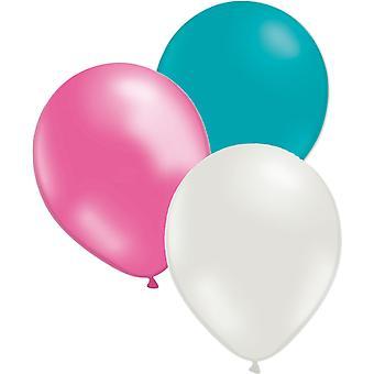 24-pack 3 kleuren turquoise, wit en roze ballonnen