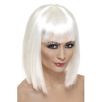 Corto blanco recta peluca, peluca de Glam con flecos, accesorio de disfraces.