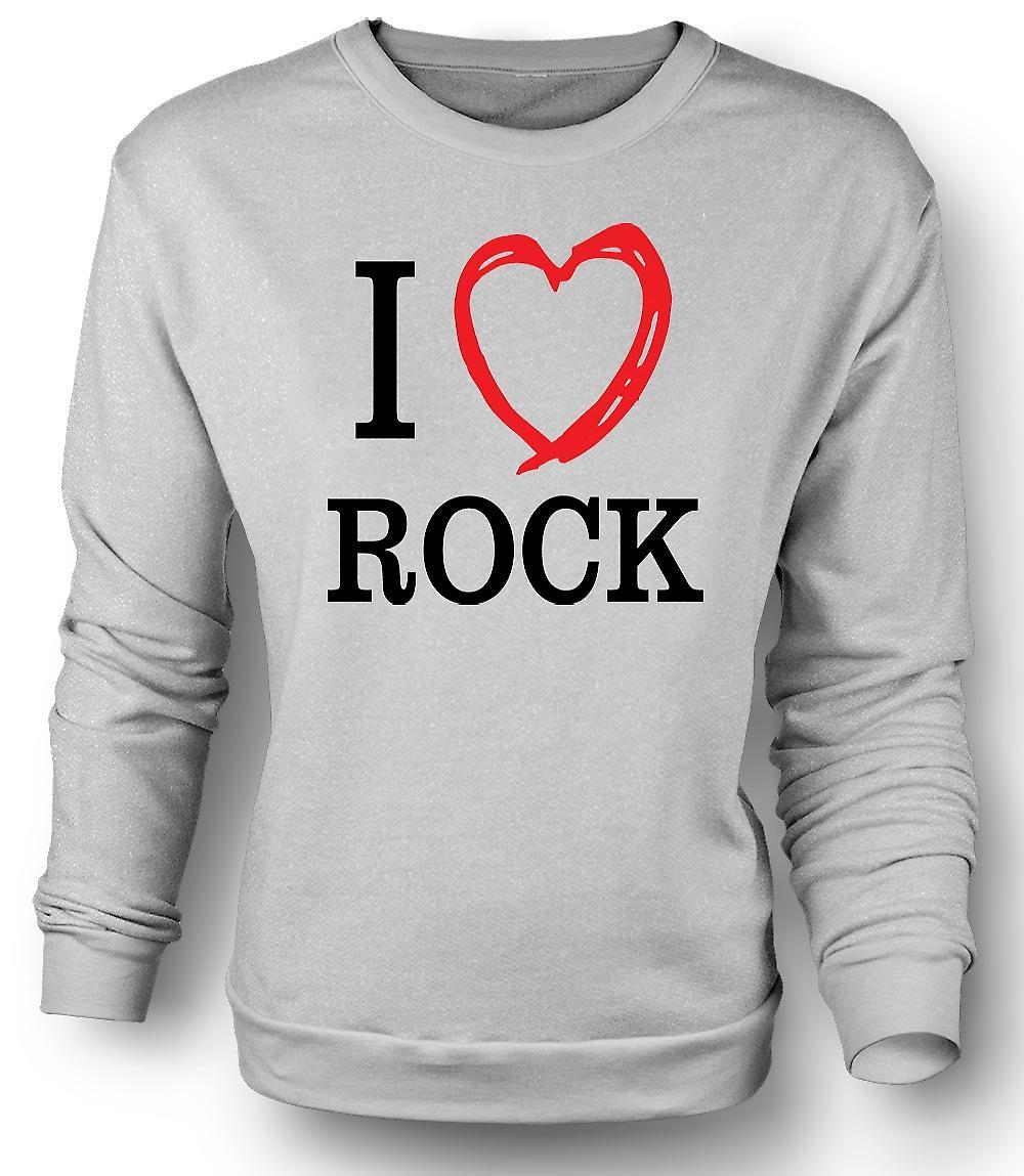 Mens Sweatshirt ik hou van Rock muziekband - citaat