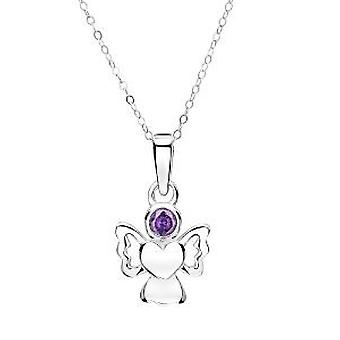 Jo For Girls Sterling Silver February Simulated Birthstone Angel Pendant 14