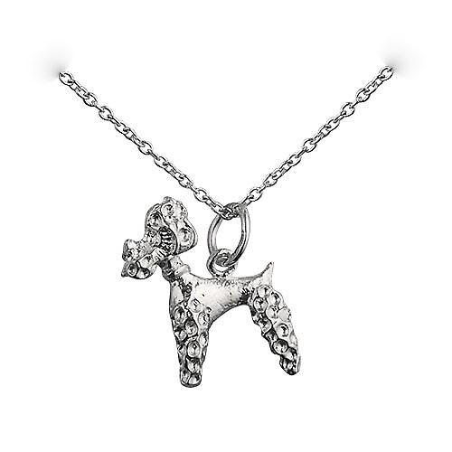 Silver 18x15mm Poodle Pendant with a rolo Chain 18 inches