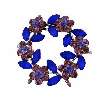 Crystals Flower Amethyst Blue Crystals Round Brooch