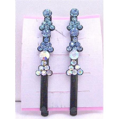 Aquamarine Sapphire Crystals Hair Black Pin Clip Crystals Hair Pin