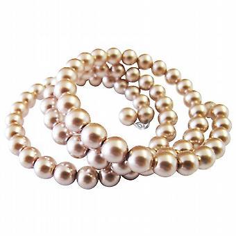 Memory Wire Wrapped Peach Freshwater Pearl Peach Black Cuff Bracelet