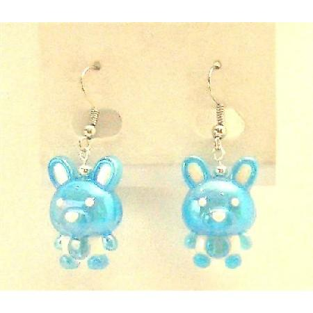 Easter Bunny Rabbit Jewelry Enameled Blue & White Cute Bunny Earrings