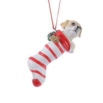 TRIXES Dog Red Striped Stocking Xmas Ceramic Ornament