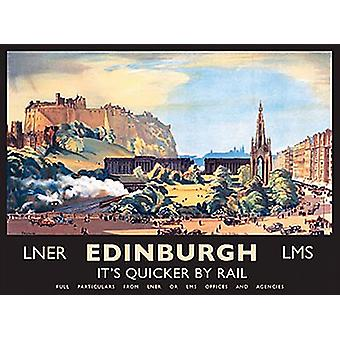 Edinburgh Quicker By Rail landscape small metal sign  (og 2015)