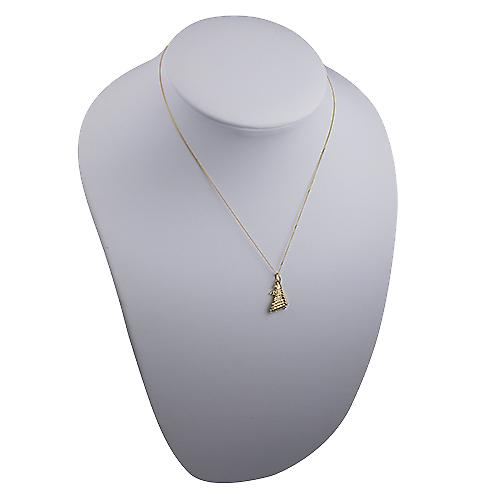 9ct Gold 12x16mm Harrods building Pendant with a curb Chain 16 inches Only Suitable for Children