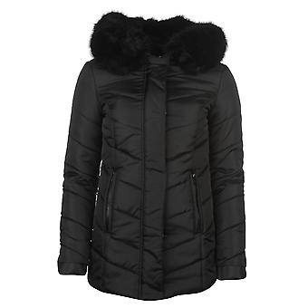 Firetrap Womens Short Puffa Jacket Fur Quilted Padded Hooded Full Zip Top