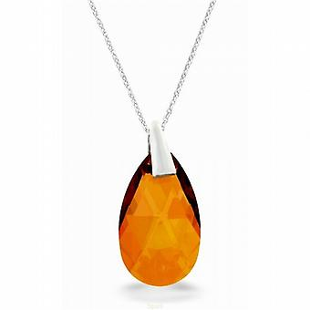 Spark Copper Crystal Classic Tear Drop Pendant on 925 Silver 16 - 18
