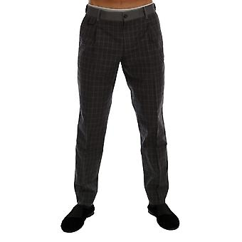 Gray check stretch cotton pants