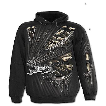 Spiral-direkte gotische Knochen SLASHER - Allover Kapuzenjacke Black| AlloverPrint| Rips| Blade| Tribal