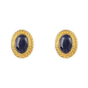 Gold Gemstone Birthstone Stud Boucle d'oreille Septembre Saphir Dark Blue Small Gift