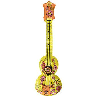 Inflatable ukulele guitar yellow with pink flowers approximately 81cm