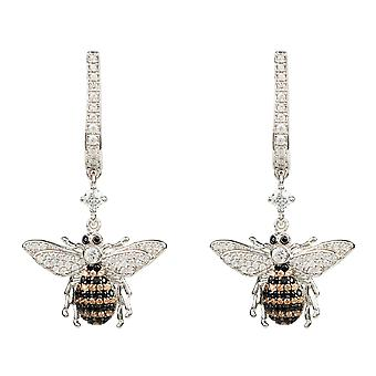 Honey Bee Sterling Silver Drop Earring CZ Gemstone Gift Statement Dangle Boxed