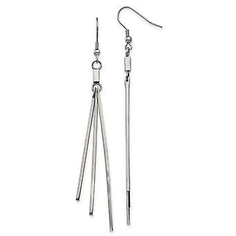 Stainless Steel Polished Bar Dangle Shepherds Hook Earrings