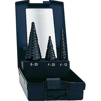 HSS Step drill bit set 3-piece 4 - 12 mm, 4 - 20 mm, 6 - 30 mm TiAIN Exact 50071 Triangular shank 1 Set