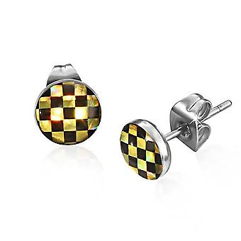 Acciaio inox maschio urbano Checkerboard Gold Stud Earrings 7mm