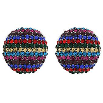 Clip On Earrings Store Round Multicoloured Crystals Stripe Button Clip On Earrings