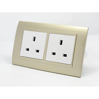 Ich LumoS als Luxus Gold Kunststoff Bogen doppelt ungeschaltet Mauer 13A UK Steckdosen