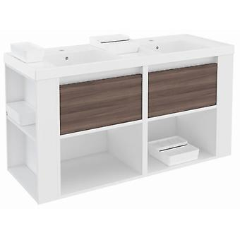 Bath+ Cabinet 2 Drawers + Shelves With Resin Basin Fresno-White-White 120