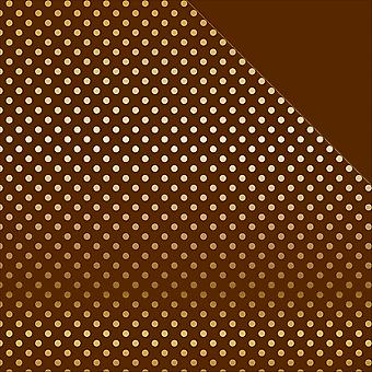 Fall/Autumn Double-Sided Foiled Dots/Stripes Cardstock 12x12-Brown & Gold Dot FALDSF-16042