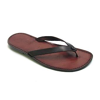 Dark brown leather thongs sandals for men Handmade